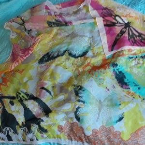 """DRAGONFLY BUTTERFLY PRINT SCARF 40"""" X 42"""""""